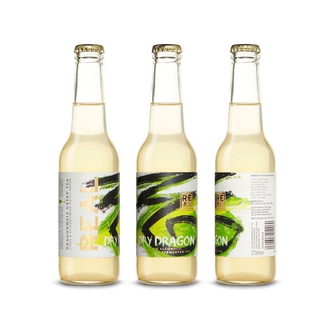 A case of REAL Kombucha Dry Dragon 275ml bottles