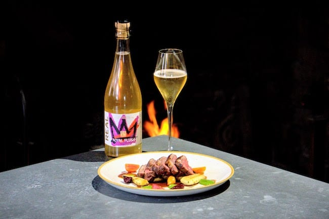 REAL Kombucha Royal Flush, the ideal non-alcoholic food pairing served with lamb and roast vegetables