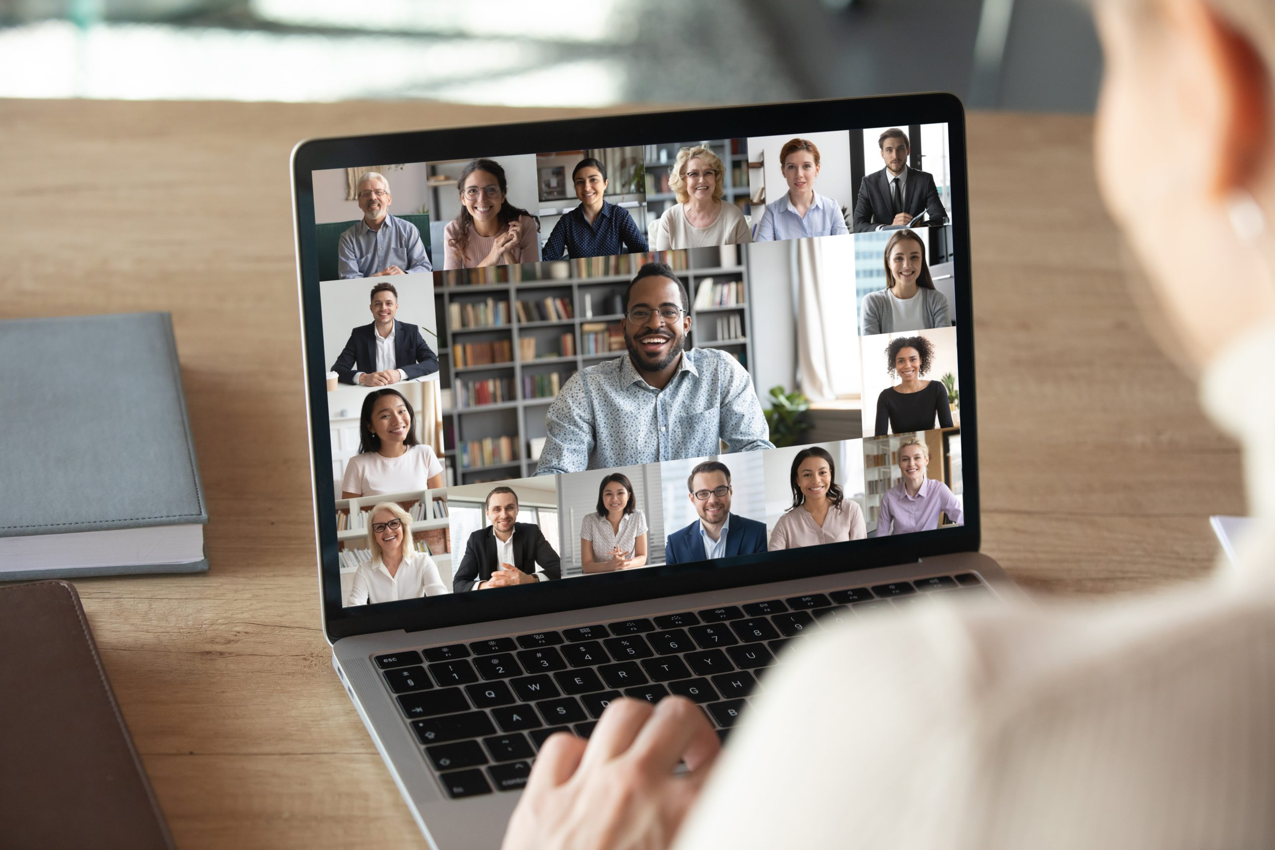 A business team having an engaging and interactive virtual meeting